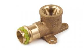 "SudoPress Rotguss Pressfitting Deckenwinkel 3-Lochflansch 16 mm x 1/2"""