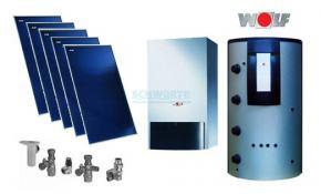 Wolf Solarpaket mit Gasbrennwert CGB-2-20 5 x Kollektor TopSon F3-1, BSP-800, 1 MK