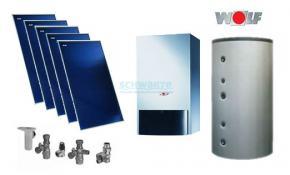 Wolf Solarpaket mit Gasbrennwert CGB-2-20 5 x Kollektor TopSon F3-1, BSH-800, 1 MK