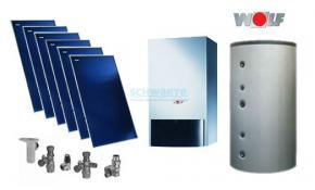 Wolf Solarpaket mit Gasbrennwert CGB-2-20 6 x Kollektor TopSon F3-1, BSH-1000, 1 MK