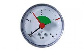 """Heizungsmanometer axial Ø 63 mm G 3/8"""" Makierung bei 2,5 bar"""