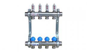 Zewotherm Heizkreisverteiler 10 Kreise (Edelstahl) mit  Durchflussmesser (4 l/min)