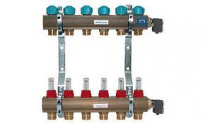 Heizkreisverteiler Messing für 7 Kreise mit Durchflussmesser (4 l/min)