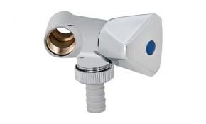 """Geräte-Zusatzventil DN 15 (1/2"""") AG x DN 15 (1/2"""") IG - verchromt - Schlauchanschluss 3/4"""""""