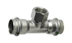 """Viega Sanpress Inox T-Stück mit IG 15 mm x 1/2"""" x 15 mm - Modell 2317.2"""