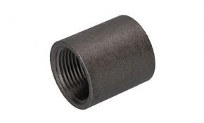 """Stahlmuffe schwarz 1/2"""" - sandgestrahlte Oberfläche"""