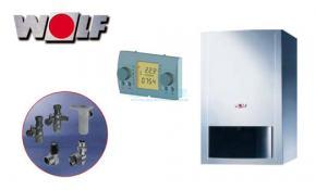 Wolf Gasbrennwerttherme CGB-11 mit Hocheffizienzpumpe, Regelung BM und Anschluss-Set